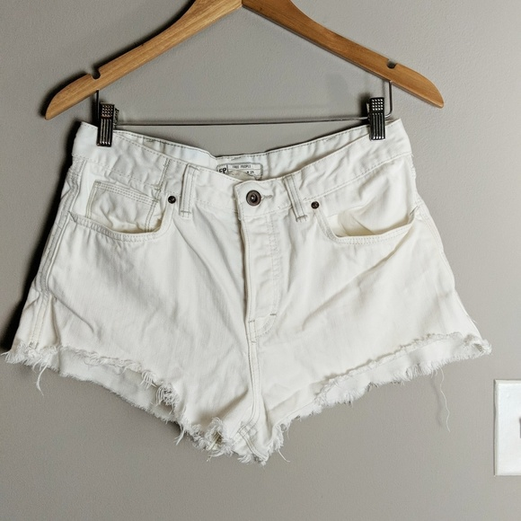 Free People Pants - Free People White Denim Cut Off Short sz 29